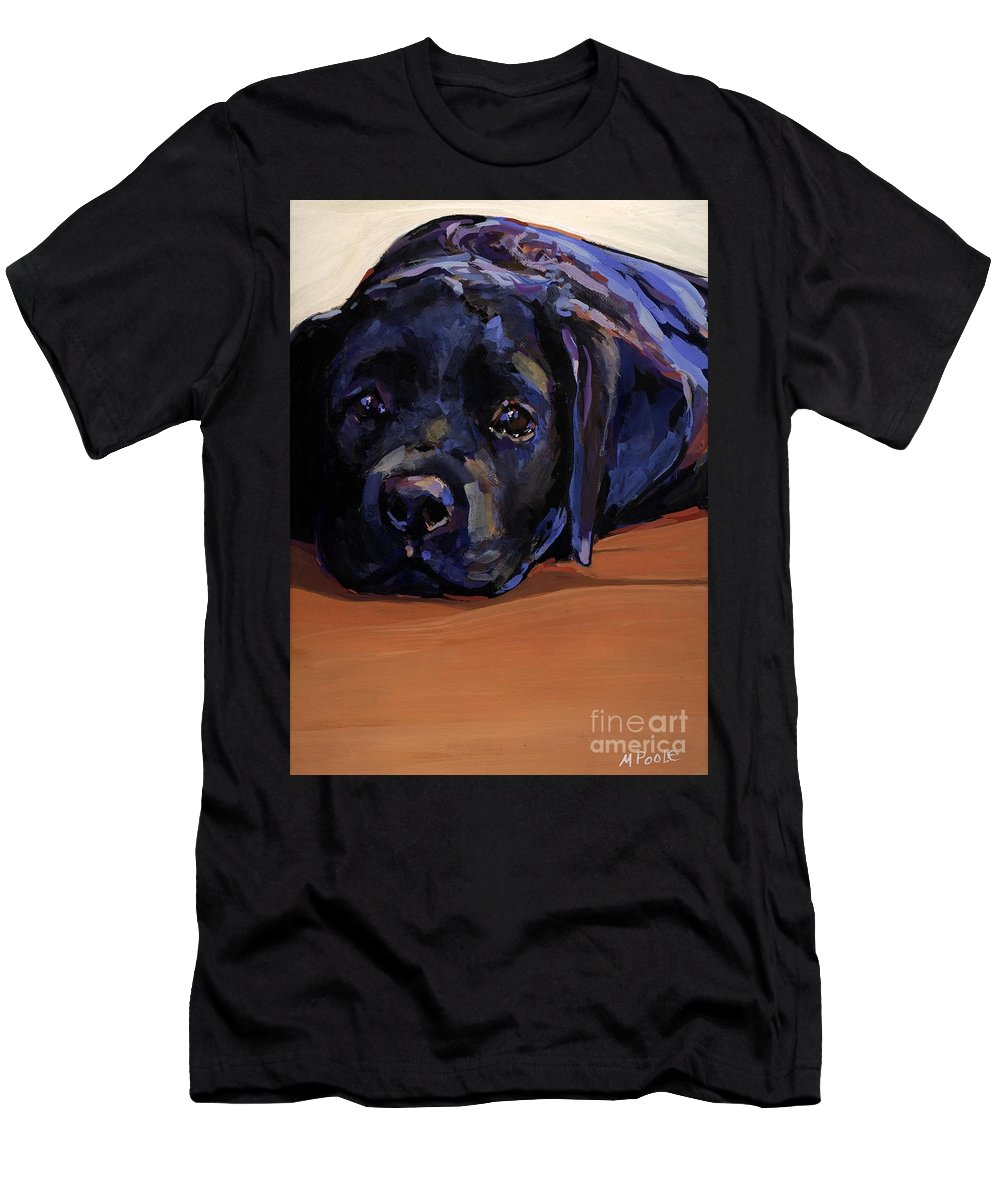Labrador Retriever Puppy Men's T-Shirt (Athletic Fit) featuring the painting Eyes For You by Molly Poole