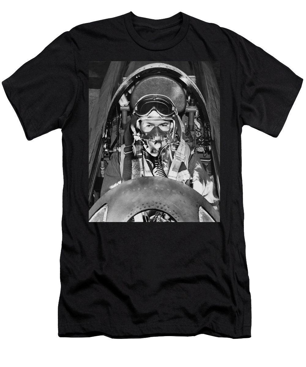 1 Person Men's T-Shirt (Athletic Fit) featuring the photograph F-84 Thunderjet Pilot by Underwood Archives
