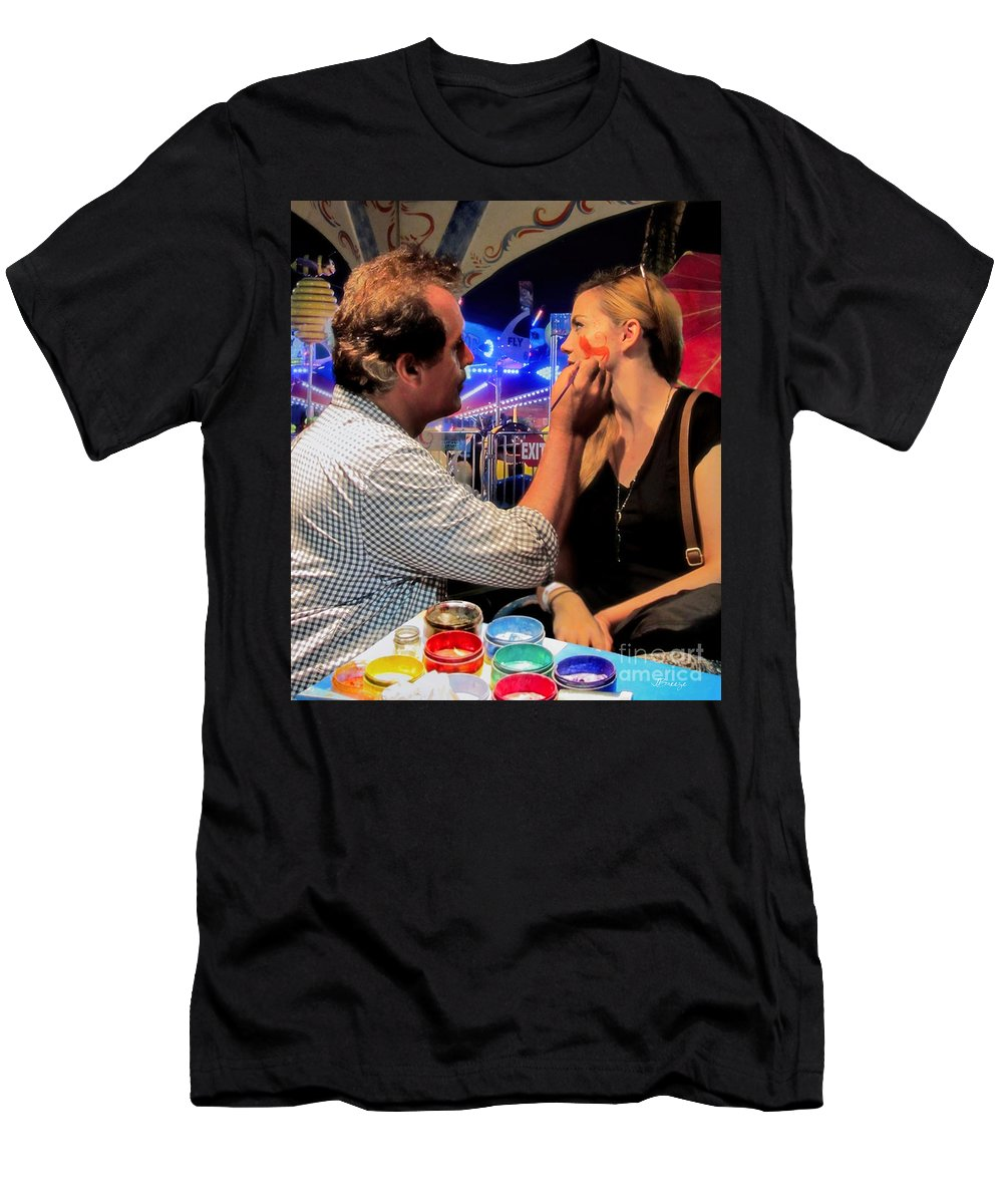 Face Men's T-Shirt (Athletic Fit) featuring the photograph Face Painting At The Fair by Jennie Breeze