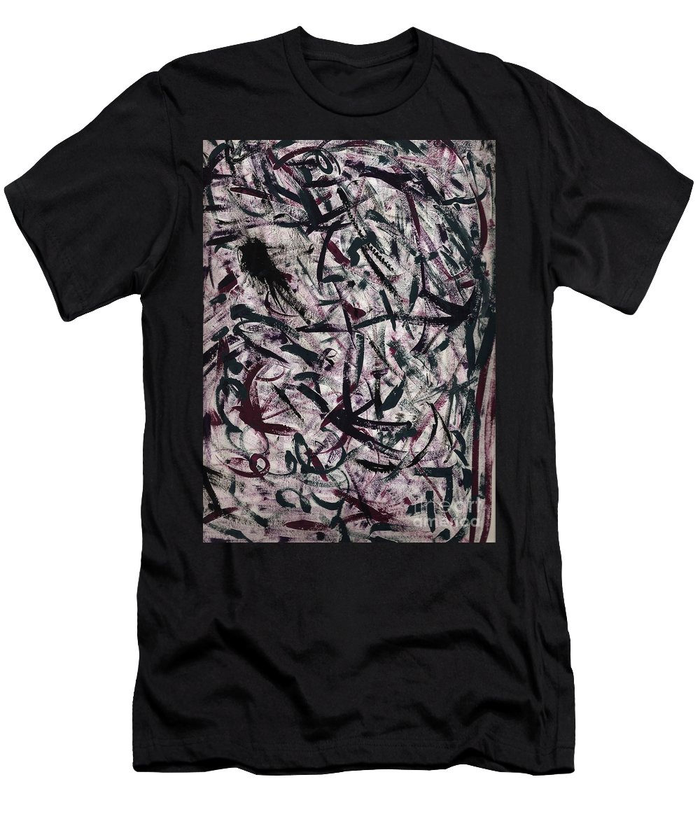 Abstract Men's T-Shirt (Athletic Fit) featuring the painting Faces by Myrtle Joy