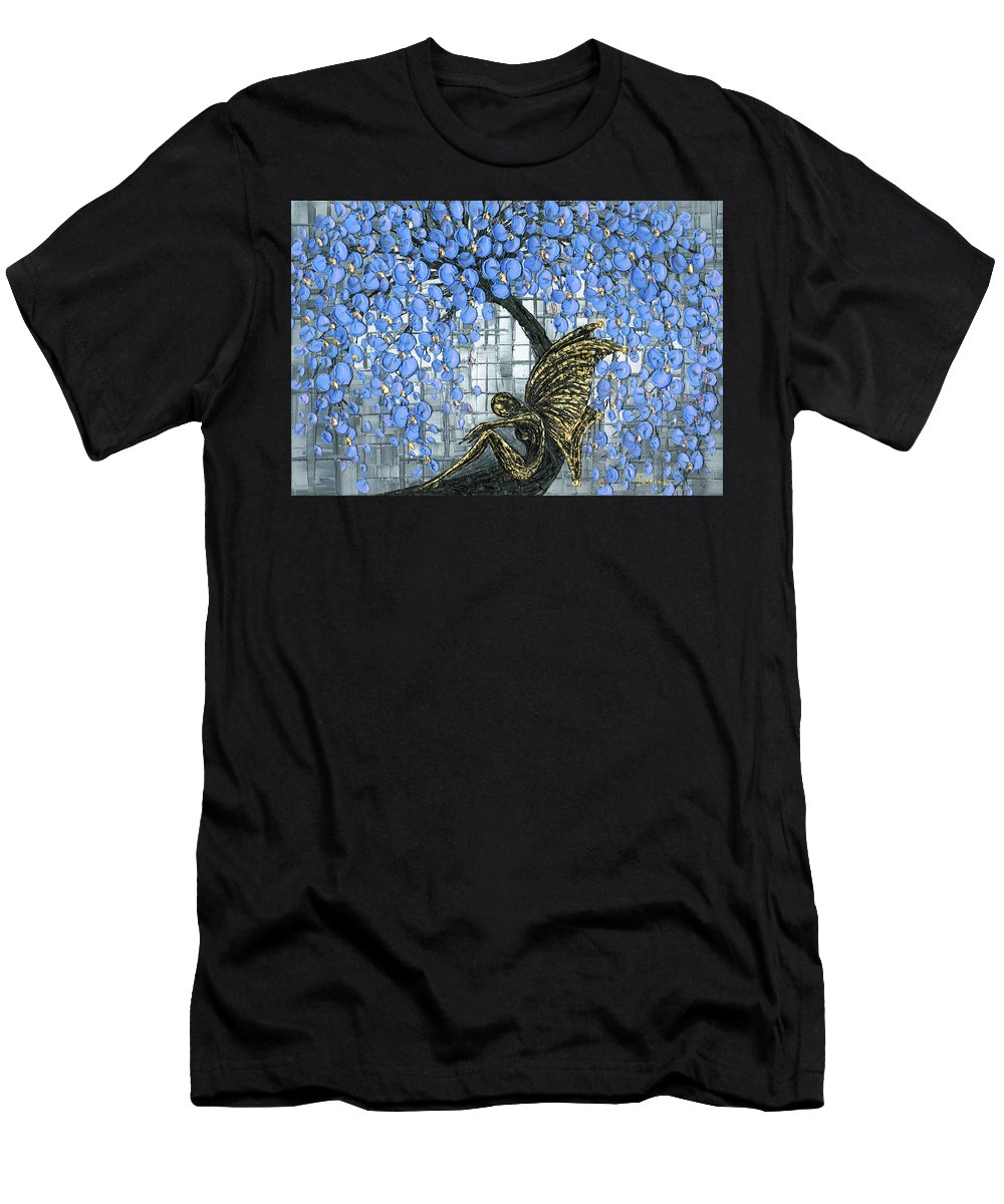 Fairy Men's T-Shirt (Athletic Fit) featuring the painting Fairy Under Blue Blossom by Susanna Shaposhnikova