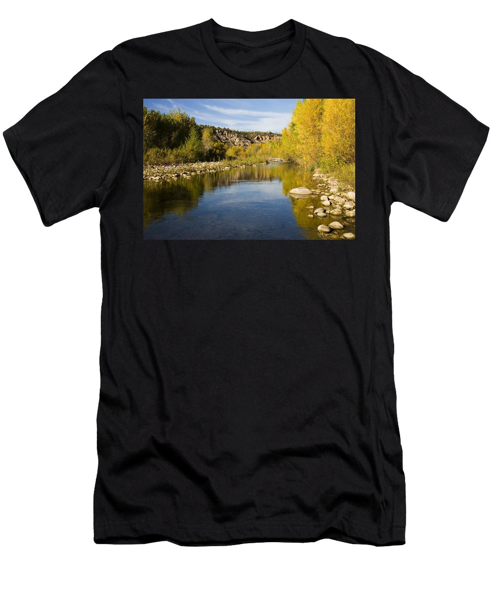 Feb0514 Men's T-Shirt (Athletic Fit) featuring the photograph Fall Along River Sierra Ancha by Tom Vezo