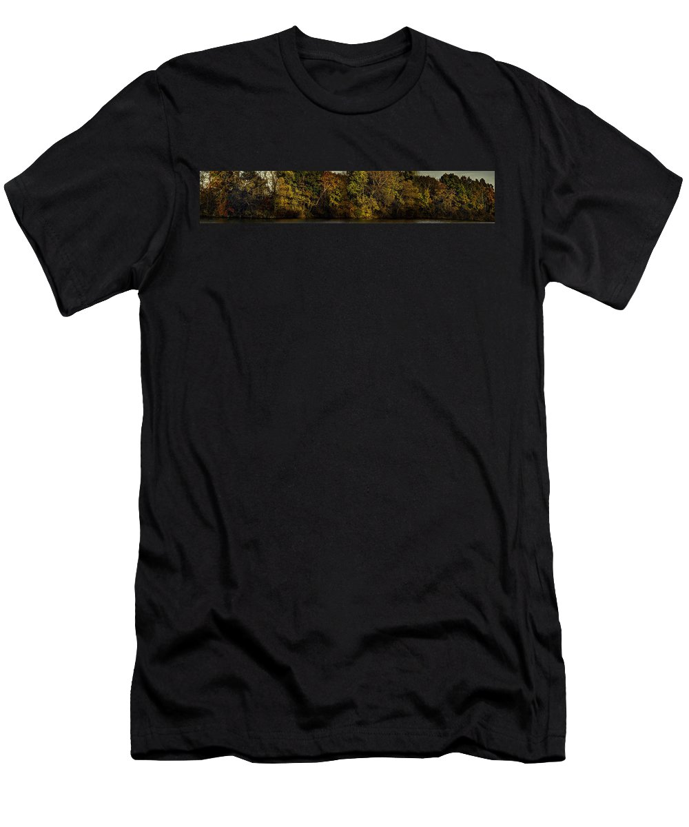 Fall Men's T-Shirt (Athletic Fit) featuring the photograph Fall Color Trees V7 Pano by John Straton