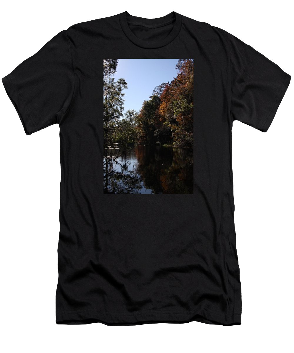 Swamp Men's T-Shirt (Athletic Fit) featuring the photograph Fall Colors In The Swamp by Christiane Schulze Art And Photography