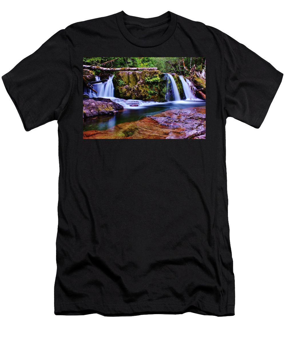 Waterfall Men's T-Shirt (Athletic Fit) featuring the photograph Fall Creek Oregon 3 by Michael Cross