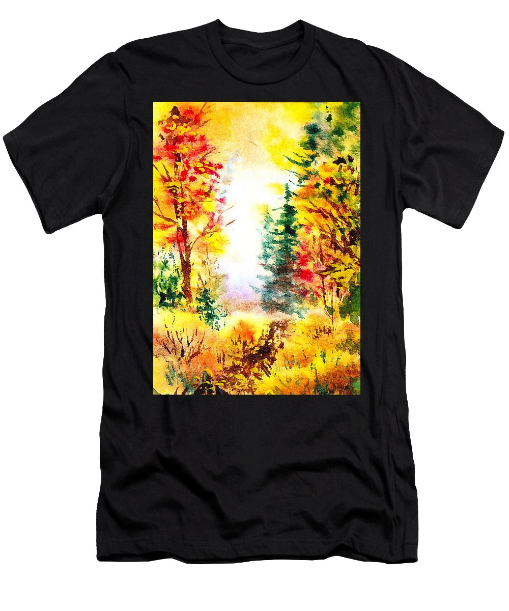 Fall Men's T-Shirt (Athletic Fit) featuring the painting Fall Forest by Irina Sztukowski