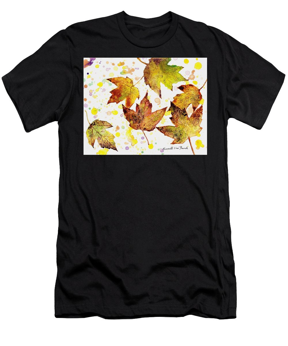 Fall Men's T-Shirt (Athletic Fit) featuring the painting Fall Leaves by Van Bunch