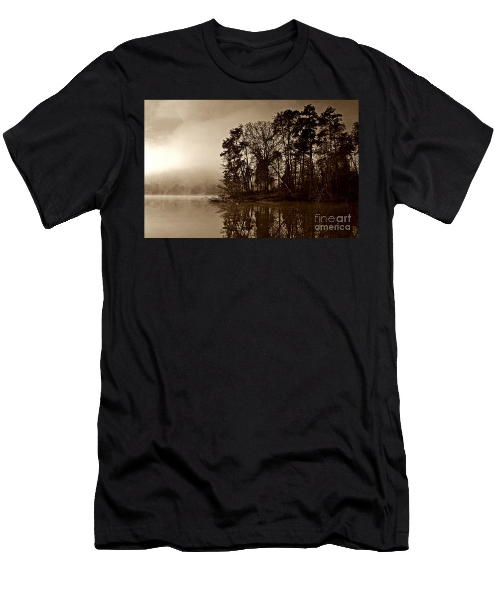 Lake Men's T-Shirt (Athletic Fit) featuring the photograph Fall On Melton Hill Lake V by Douglas Stucky