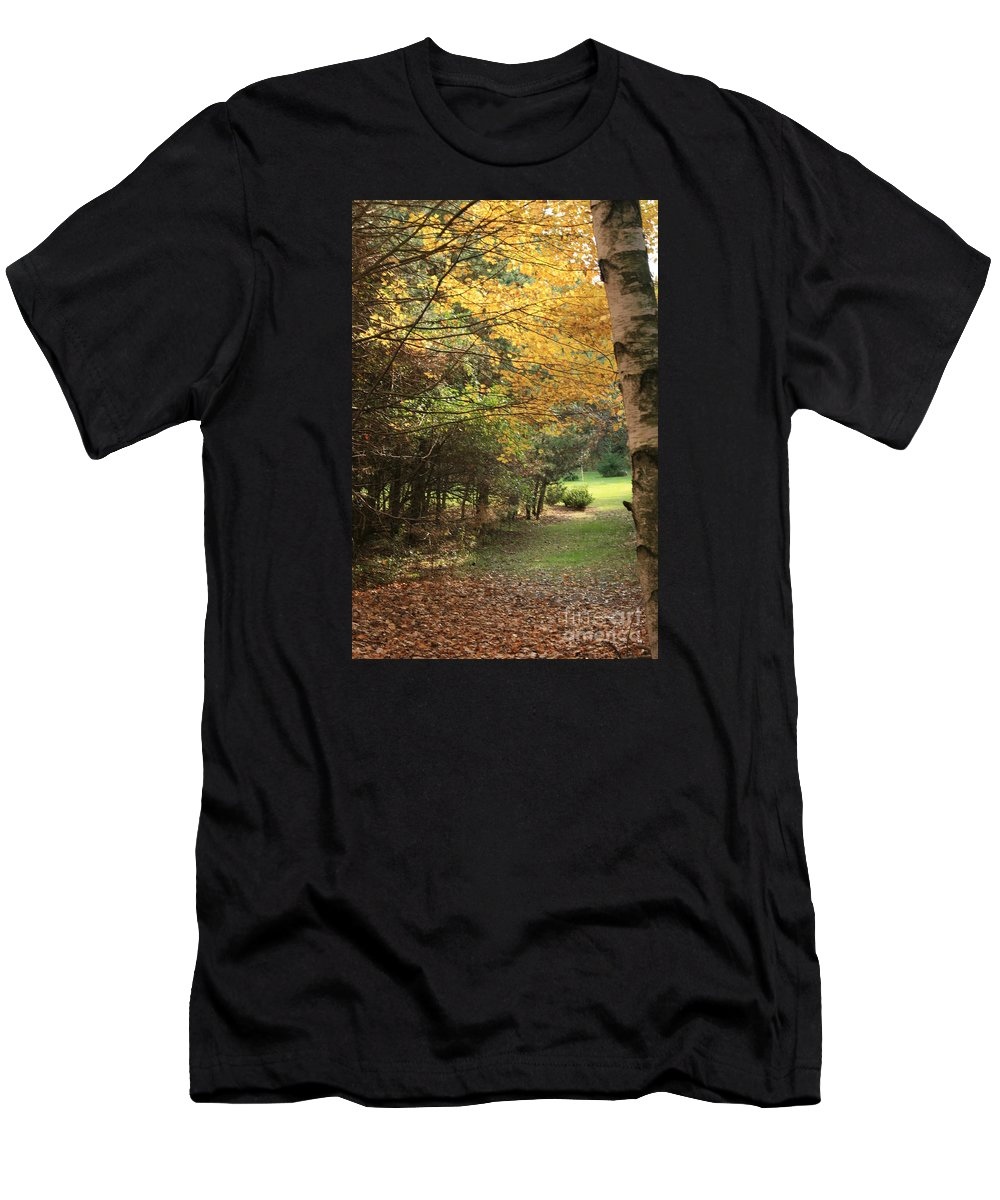 Fall Men's T-Shirt (Athletic Fit) featuring the photograph Fall Path by Kathy DesJardins