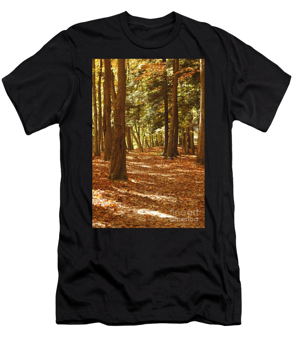 #fall Men's T-Shirt (Athletic Fit) featuring the photograph Fall Pathway by Kathleen Struckle
