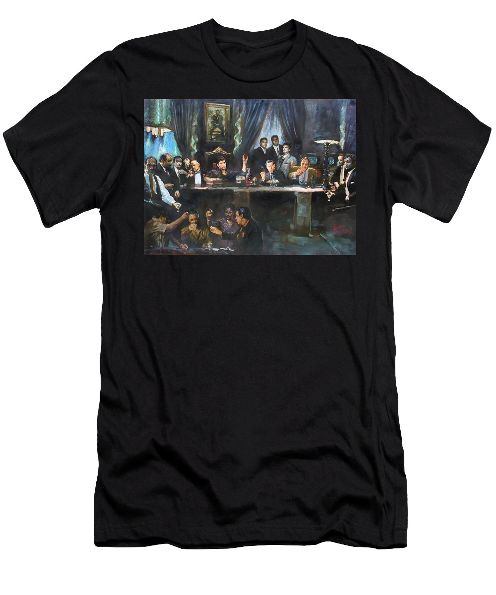 Gangsters T-Shirt featuring the painting Fallen Last Supper Bad Guys by Ylli Haruni