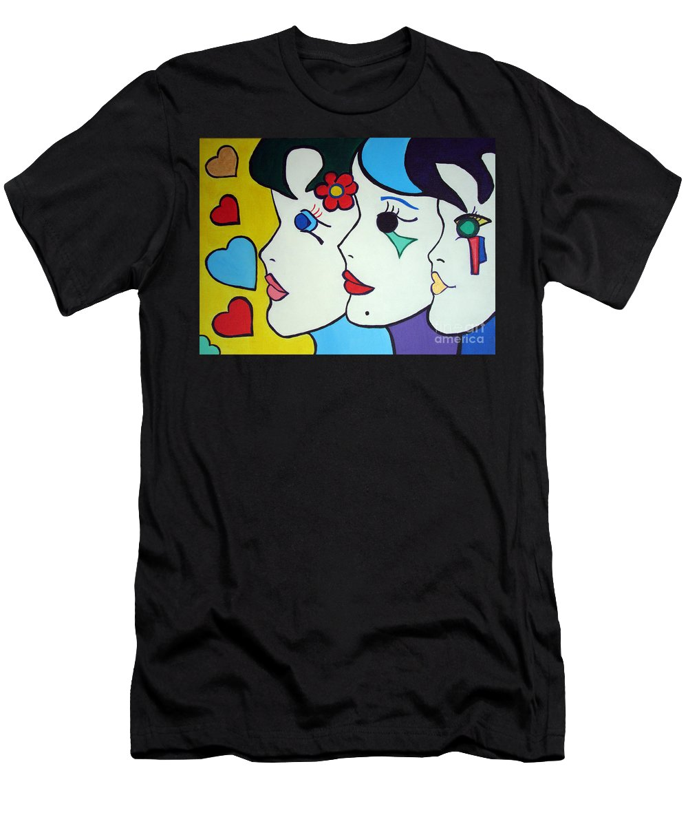 Pop-art Men's T-Shirt (Athletic Fit) featuring the painting Falling In Love by Silvana Abel