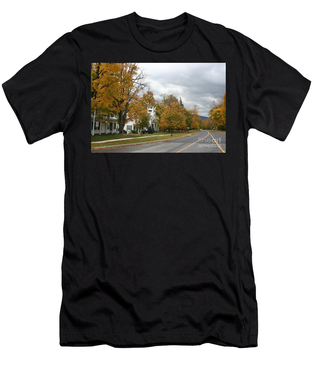 Indian Summer Men's T-Shirt (Athletic Fit) featuring the photograph Autumn Trees At The Roadside by Christiane Schulze Art And Photography