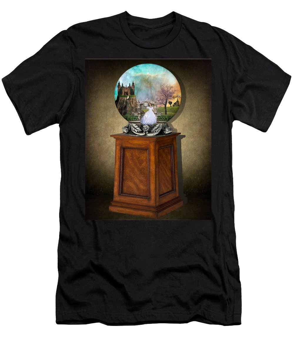 Art Men's T-Shirt (Athletic Fit) featuring the mixed media Fantasy Globe 2 by Davandra Cribbie