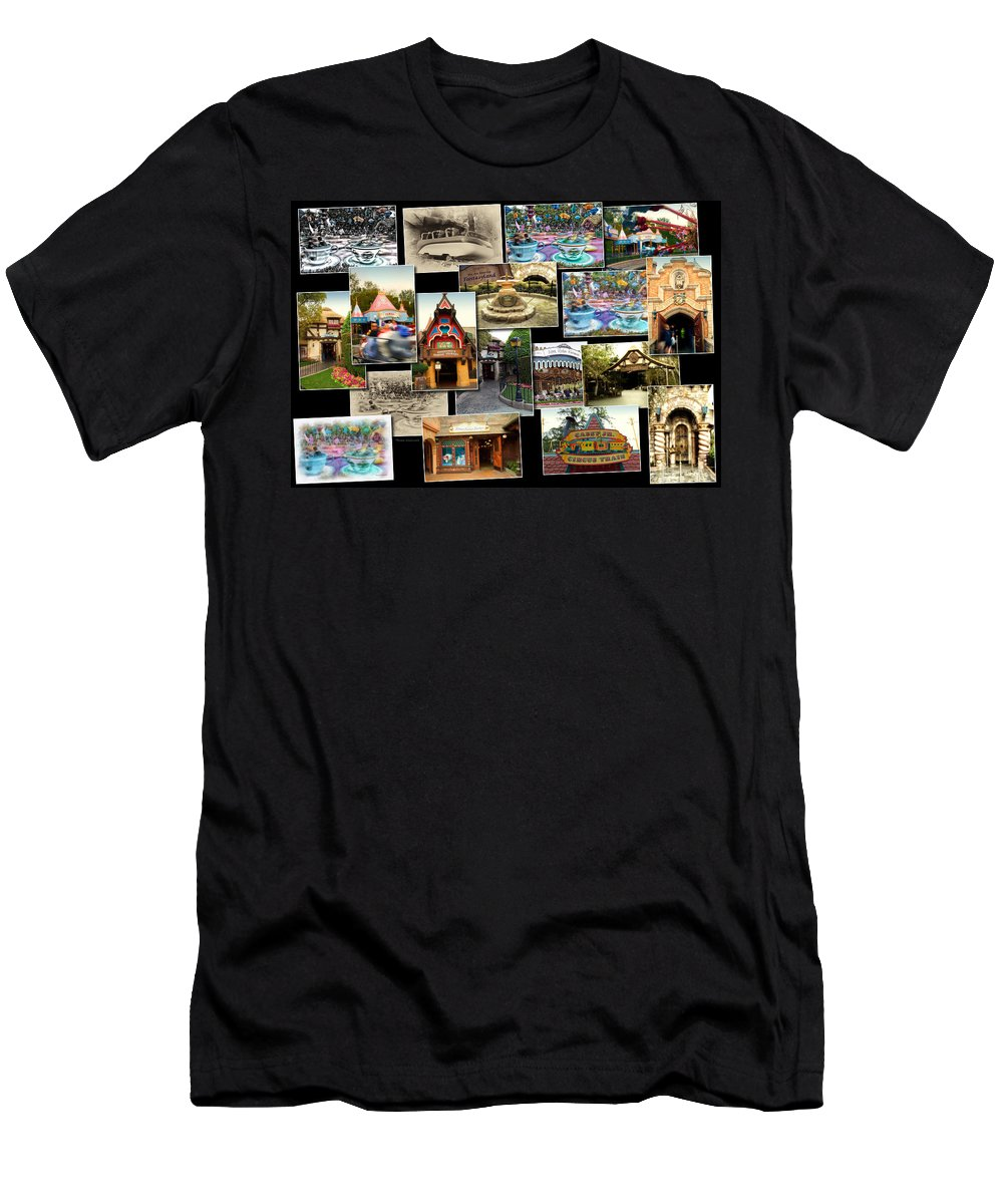 Disney Men's T-Shirt (Athletic Fit) featuring the photograph Fantasyland Disneyland Collage by Thomas Woolworth