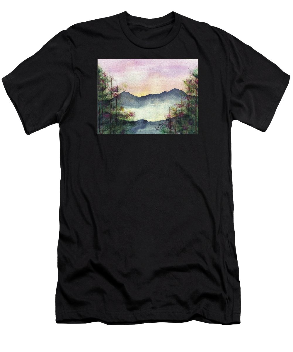 Mountains Men's T-Shirt (Athletic Fit) featuring the painting Far Away Mountain by Carol Lindquist
