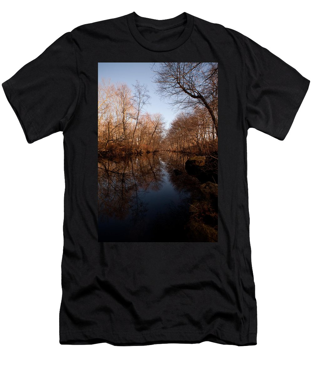 River Men's T-Shirt (Athletic Fit) featuring the photograph Far Mill River Reflects by Karol Livote