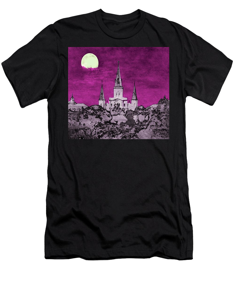 New Orleans Men's T-Shirt (Athletic Fit) featuring the photograph Fat Tuesday Eve by Kathy Bassett
