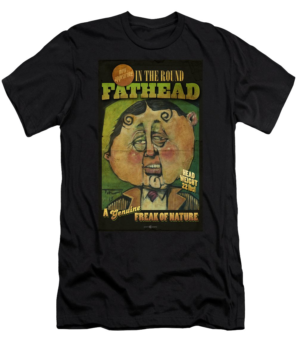 Fathead Men's T-Shirt (Athletic Fit) featuring the painting Fathead Poster by Tim Nyberg