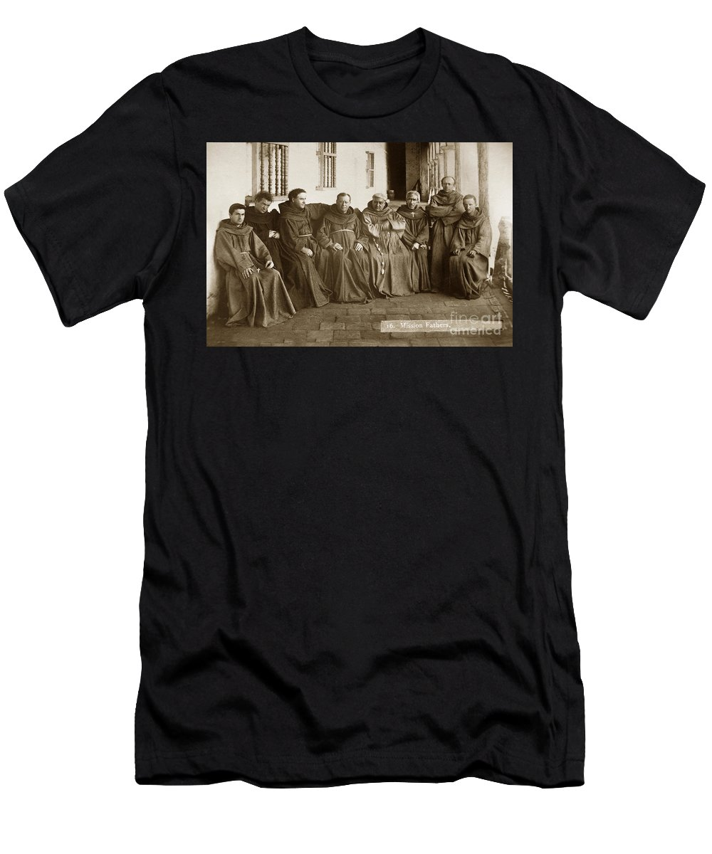 Fathers O'keefe Men's T-Shirt (Athletic Fit) featuring the photograph Fathers O'keefe And Sanchez With The Franciscan Brothers Of Mission Santa Barbara 1883 by California Views Archives Mr Pat Hathaway Archives