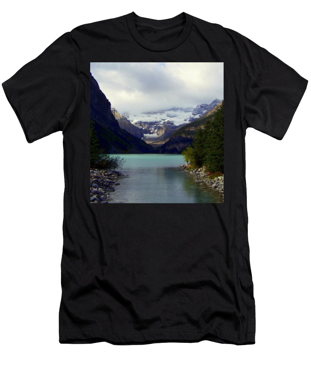 Lake Louise Men's T-Shirt (Athletic Fit) featuring the photograph Feeling Him Near by Karen Wiles