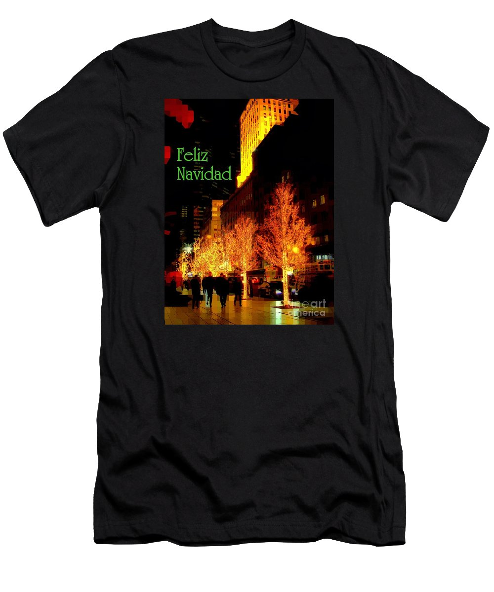 Feliz Navidad Men's T-Shirt (Athletic Fit) featuring the photograph Feliz Navidad - Merry Christmas In New York - Trees And Star Holiday And Christmas Card by Miriam Danar