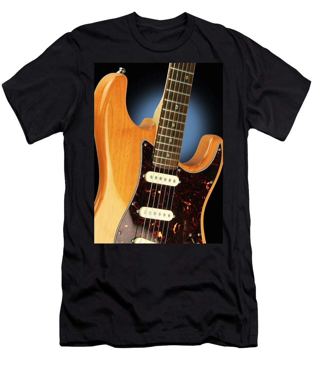 Guitar Men's T-Shirt (Athletic Fit) featuring the photograph Fender Stratocaster Electric Guitar Natural by John Cardamone