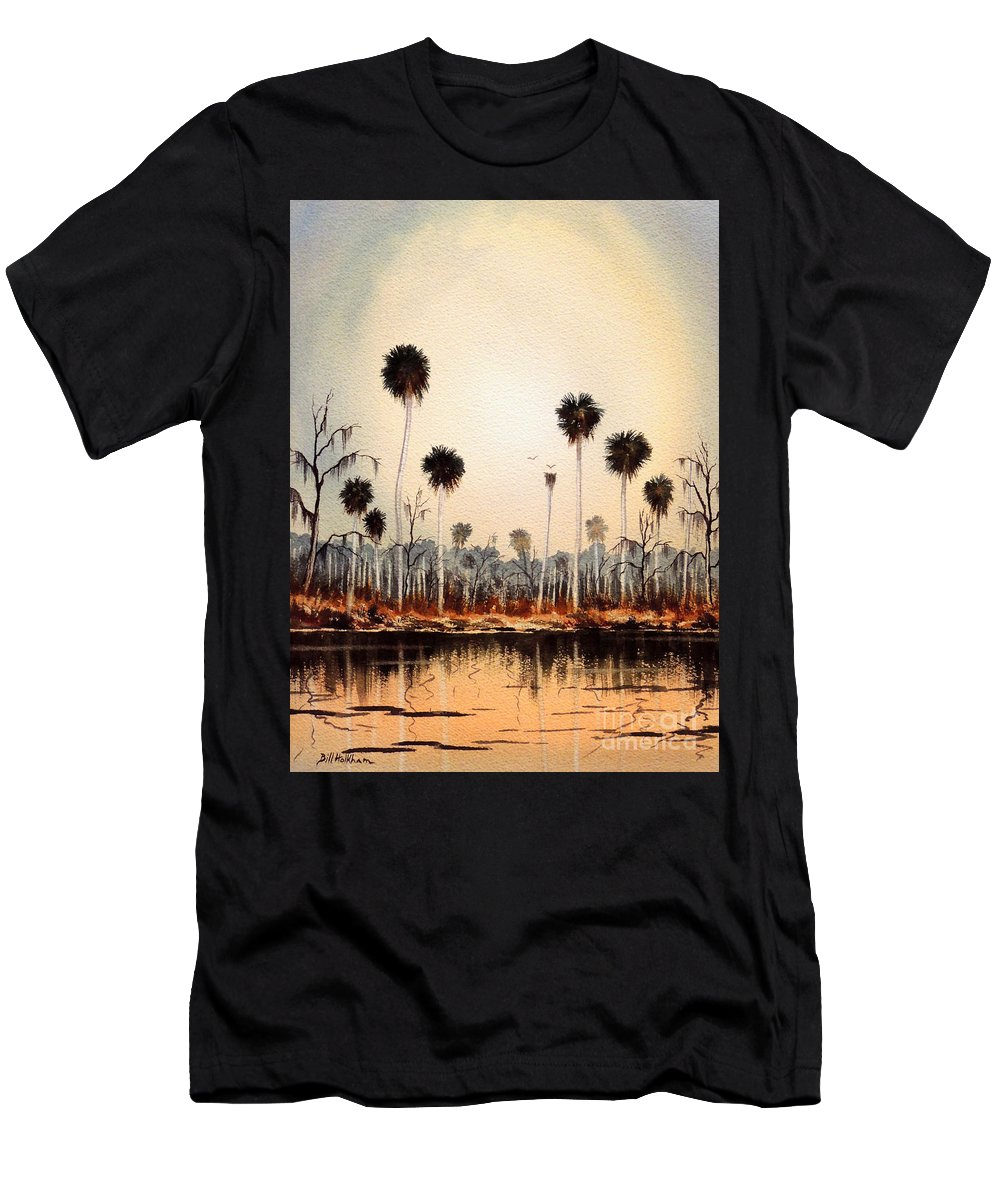 Florida Rivers Men's T-Shirt (Athletic Fit) featuring the painting Fenholloway River Florida by Bill Holkham