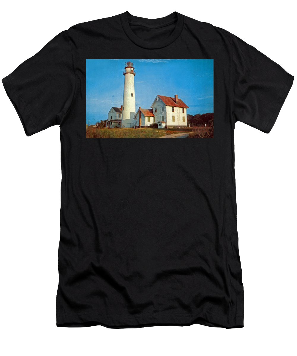 Delaware Men's T-Shirt (Athletic Fit) featuring the photograph Fenwick Island Lighthouse 1950 by Skip Willits