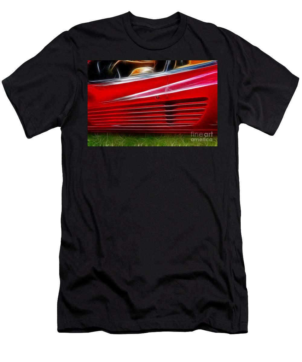 Red Men's T-Shirt (Athletic Fit) featuring the photograph Ferrari Testarossa Red by Paul Ward