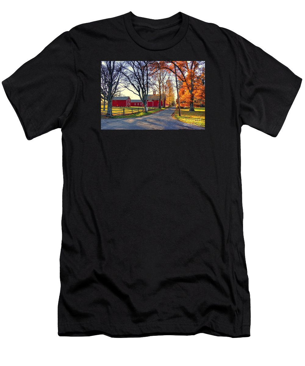 New England Men's T-Shirt (Athletic Fit) featuring the photograph Ferry Lane November Sunset by Marcel J Goetz Sr
