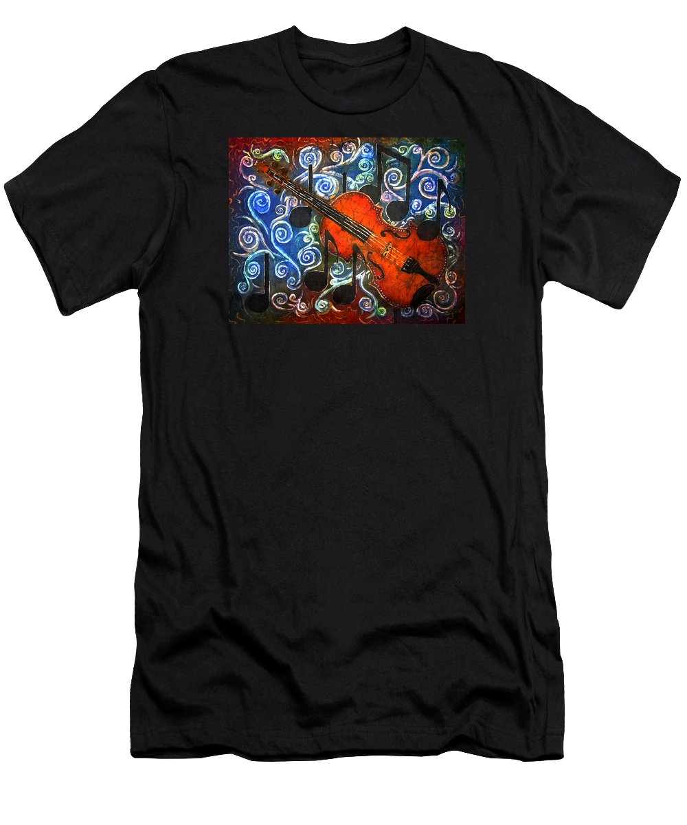 Fiddle Men's T-Shirt (Athletic Fit) featuring the painting Fiddle - Violin by Sue Duda
