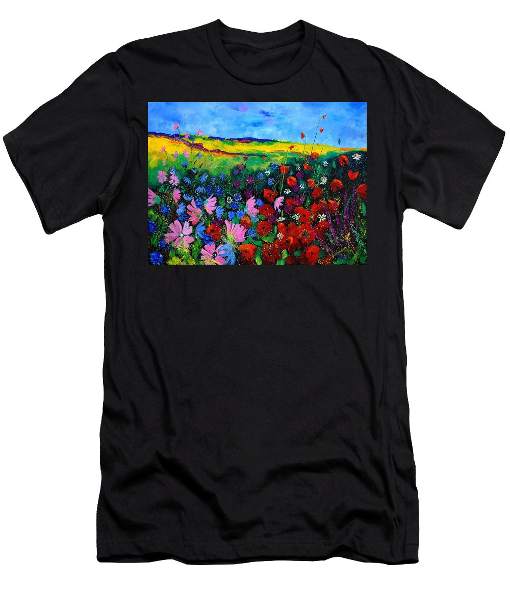 Poppies Men's T-Shirt (Athletic Fit) featuring the painting Field Flowers by Pol Ledent