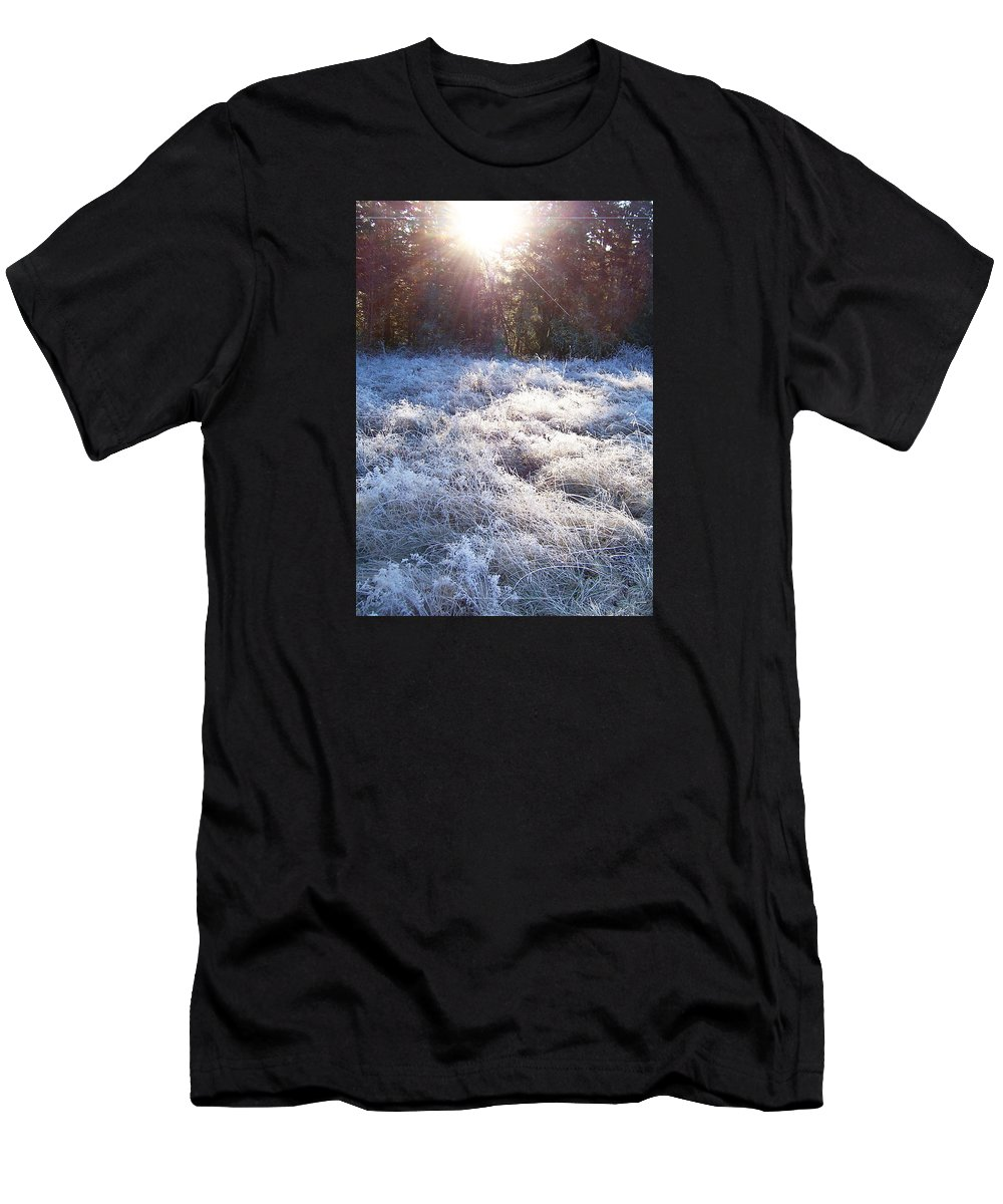 Field Men's T-Shirt (Athletic Fit) featuring the photograph Field Of Frost by Blythe Ayne