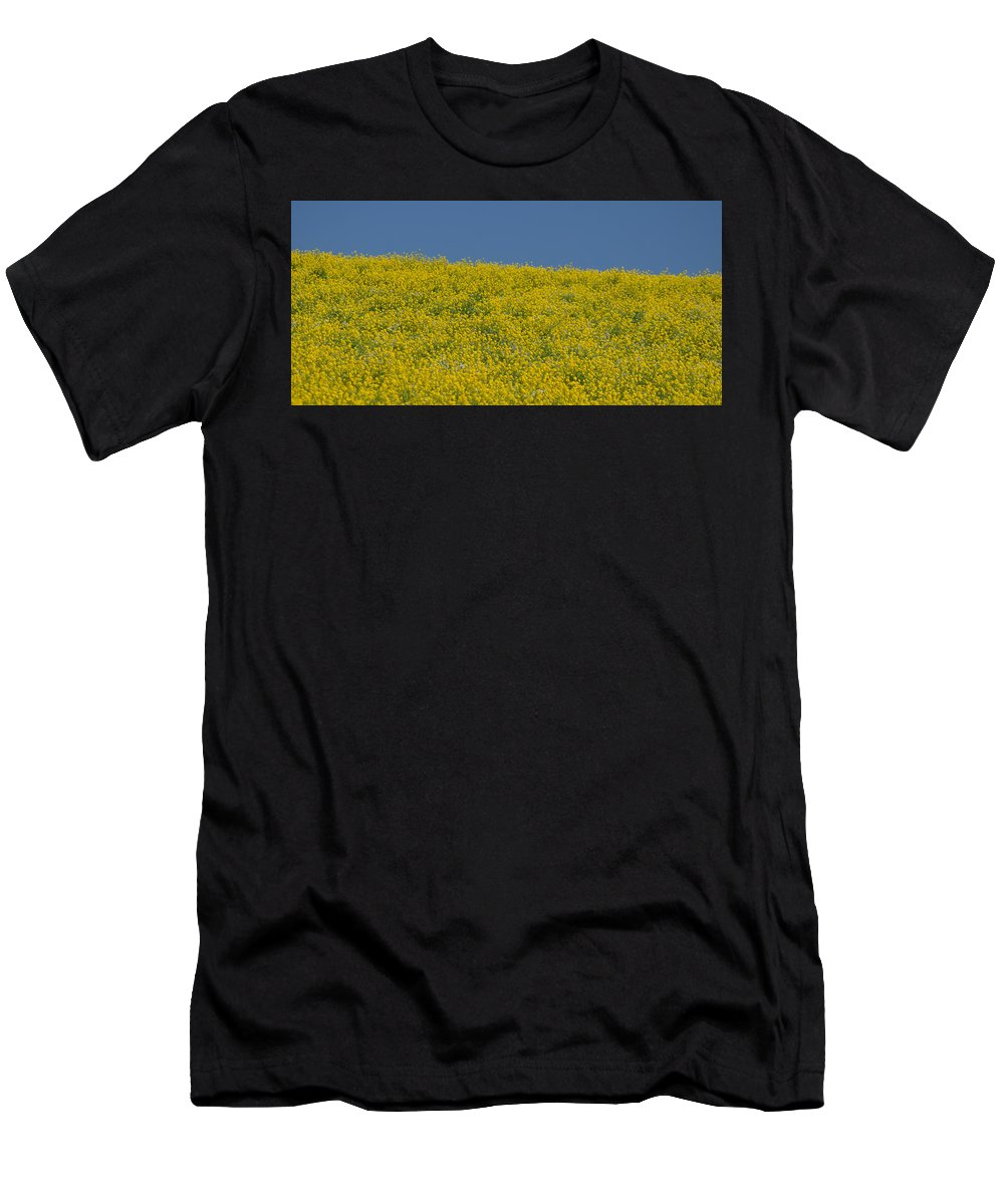 Field Of Mustard Men's T-Shirt (Athletic Fit) featuring the photograph Field Of Mustard by Debra Wales