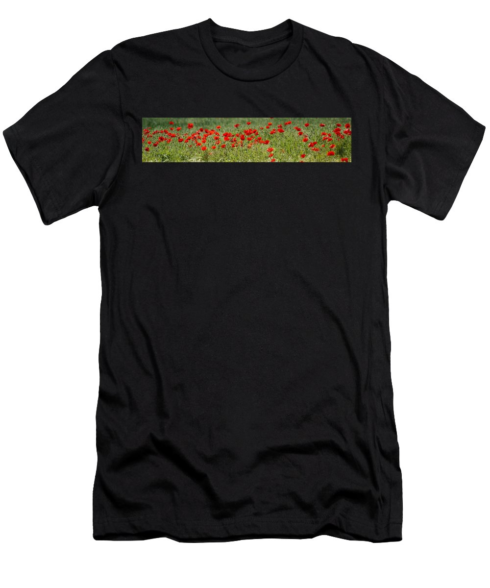 Poppies Men's T-Shirt (Athletic Fit) featuring the photograph Field Of Poppies by Carol Lynch