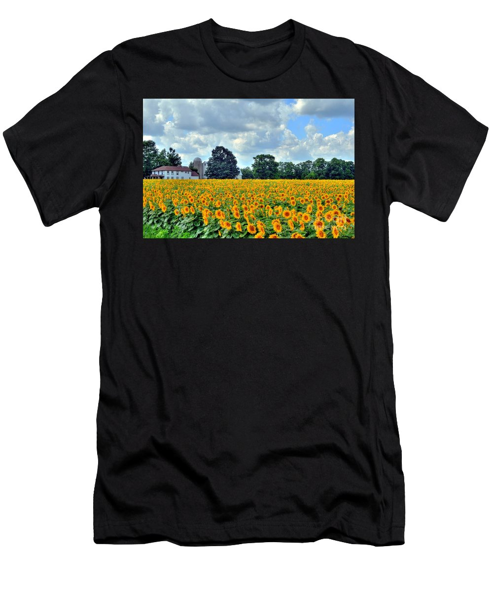 Sunflower Men's T-Shirt (Athletic Fit) featuring the photograph Field Of Sunflowers by Kathleen Struckle