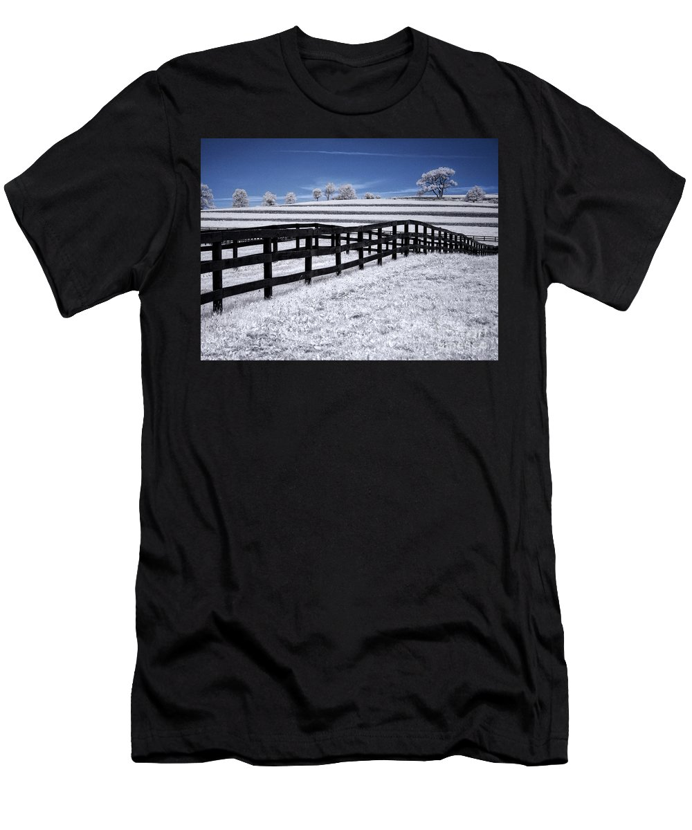 Ir Men's T-Shirt (Athletic Fit) featuring the photograph Fields And Fences by Claudia Kuhn