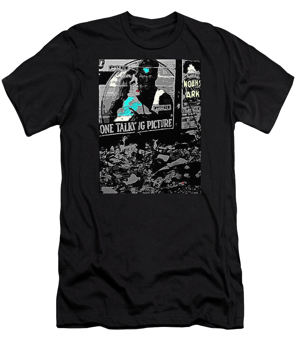 Film Homage Dolores Costello George O'brien Noah's Ark 1928 Ralph Steiner 1929-2008 Color Added Men's T-Shirt (Athletic Fit) featuring the photograph Film Homage Dolores Costello George O'brien Noah's Ark 1928 Ralph Steiner 1929-2008 by David Lee Guss