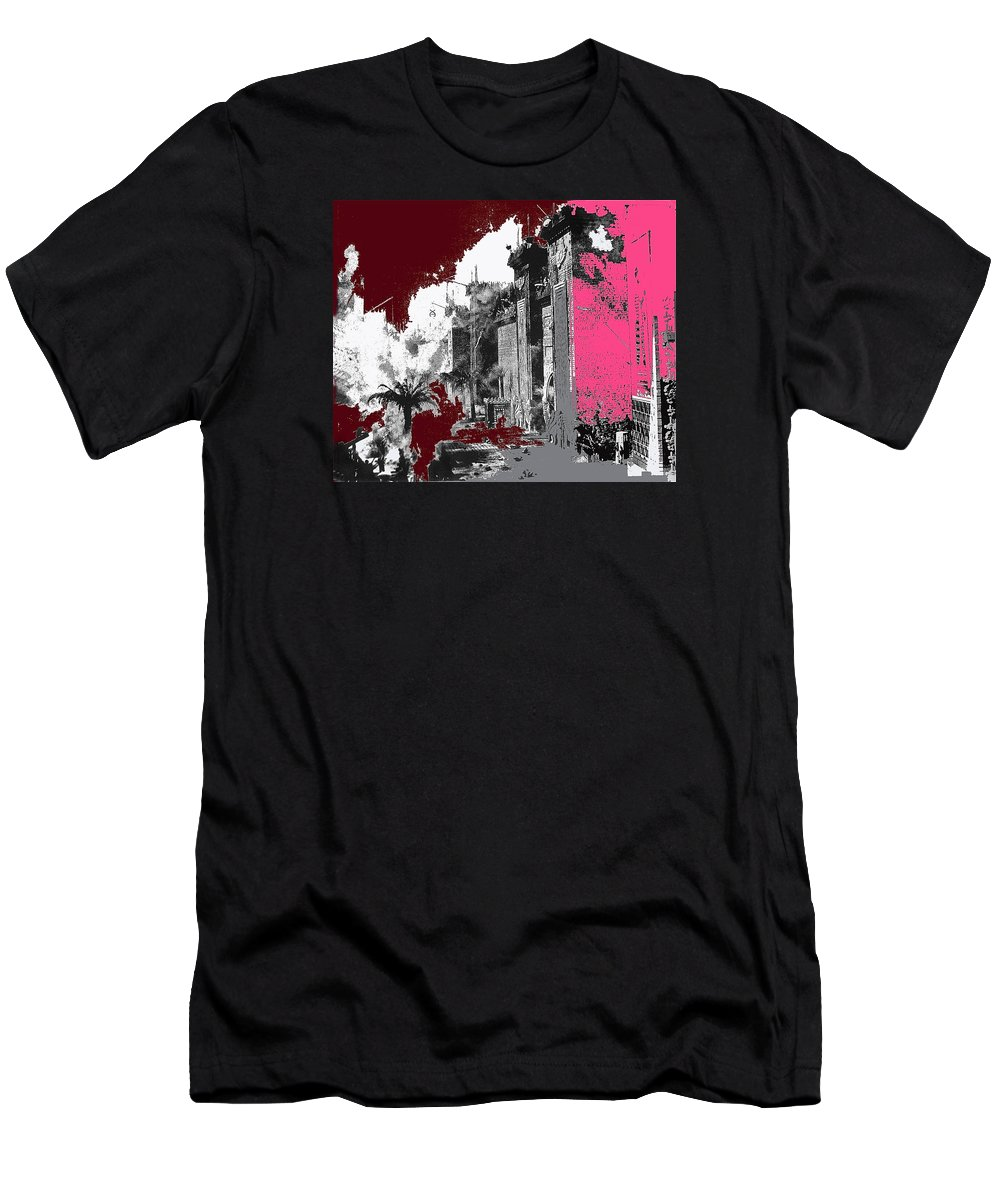 Film Homage D.w. Griffith Intolerance 1916 Fall Of Babylon 1916 Color Added Men's T-Shirt (Athletic Fit) featuring the photograph Film Homage D.w. Griffith Intolerance 1916 Fall Of Babylon 1916-2012 by David Lee Guss