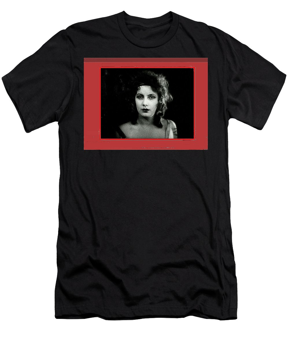 Film Homage Greta Garbo Gosta Berling 1924 Collage Color Added 2008 Men's T-Shirt (Athletic Fit) featuring the photograph Film Homage Greta Garbo Gosta Berling 1924 Collage Color Added 2008 by David Lee Guss