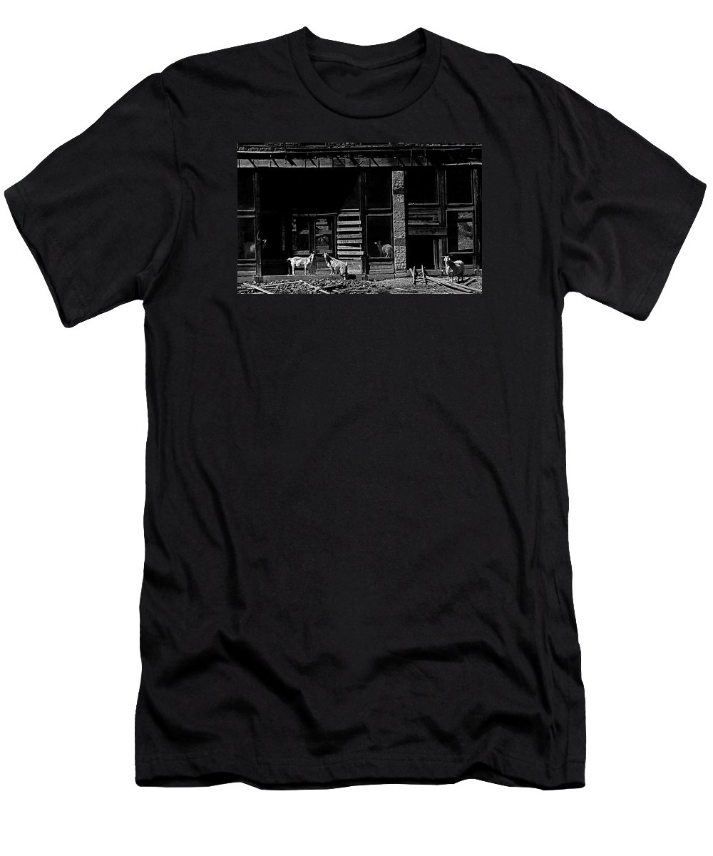 Film Homage King Vidor  Billy The Kid 1930 Wild Goats Ghost Town Billy The Kid Haunt White Oaks Nm 1968-2008 Black And White Men's T-Shirt (Athletic Fit) featuring the photograph Film Homage King Vidor  Billy The Kid 1930 Wild Goats Ghost Town Billy The Kid Haunt White Oaks Nm by David Lee Guss