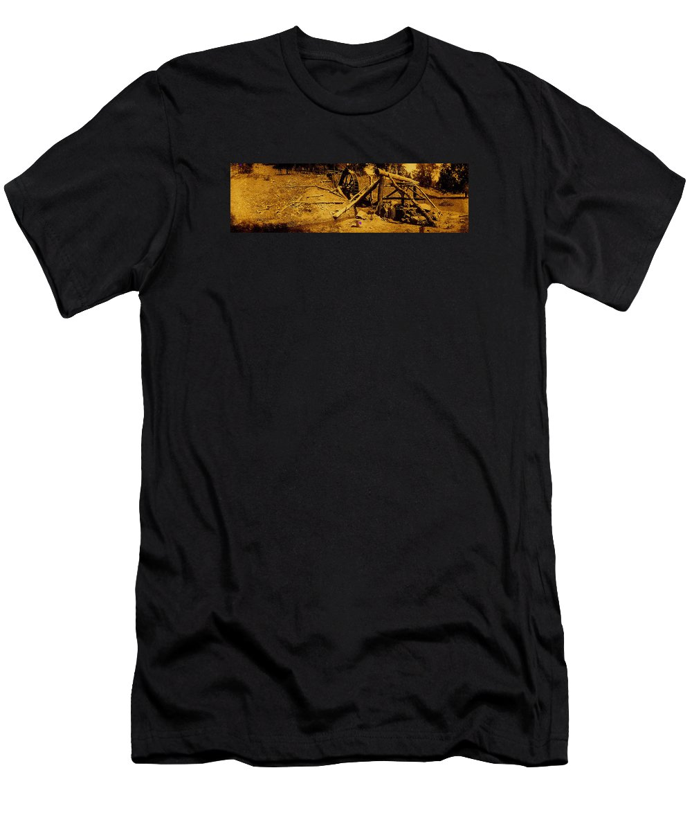 Film Homage Sergei Eisenstein Sutter's Gold 1930 Mining Sluice 1880's-2008 Toning Color Added Men's T-Shirt (Athletic Fit) featuring the photograph Film Homage Sergei Eisenstein Sutter's Gold 1930 Mining Sluice 1880's-2008 by David Lee Guss
