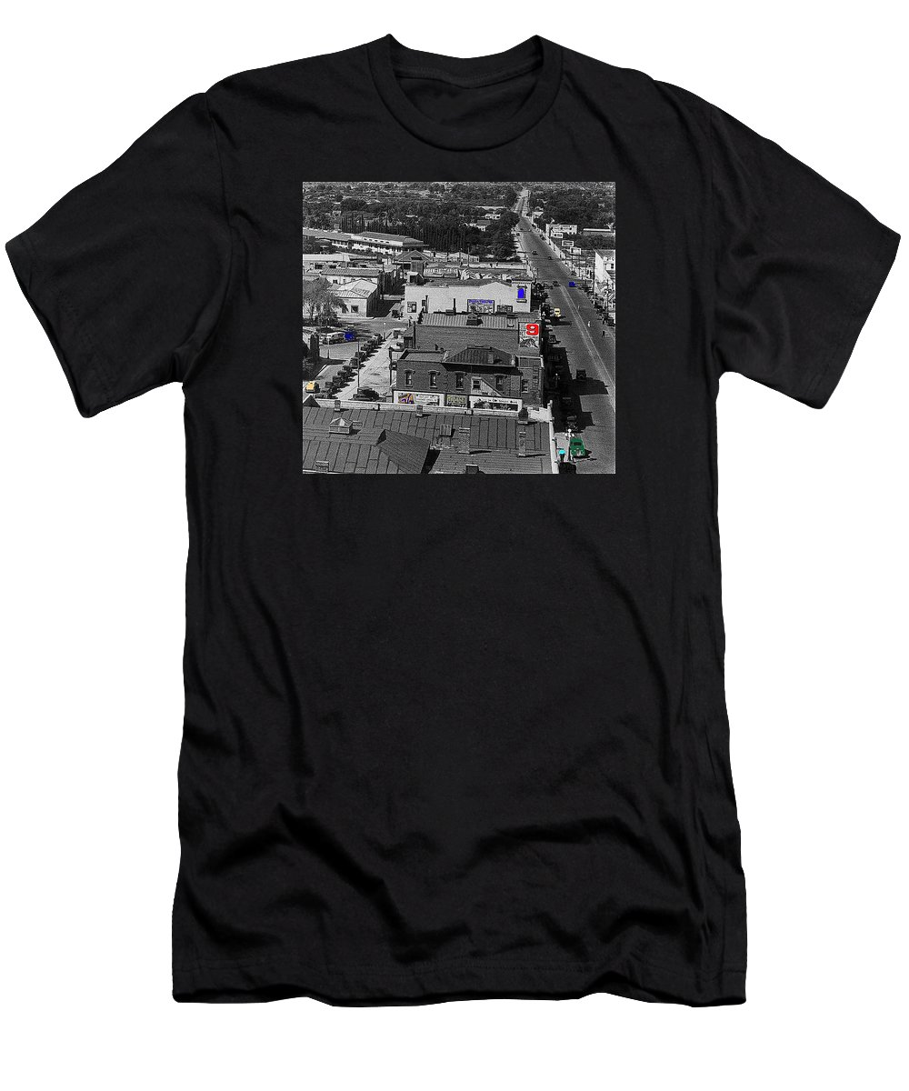 The Cine Plaza Theater In 1936 Men's T-Shirt (Athletic Fit) featuring the photograph Film Homage Ted Degrazia Cine Plaza Theater Blue W. Congress Tucson Arizona 1936-2008 by David Lee Guss