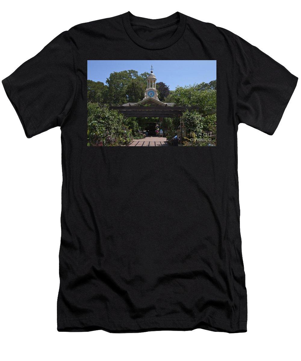 Filoli Men's T-Shirt (Athletic Fit) featuring the photograph Filoli Clock Tower Garden Shop by Jason O Watson