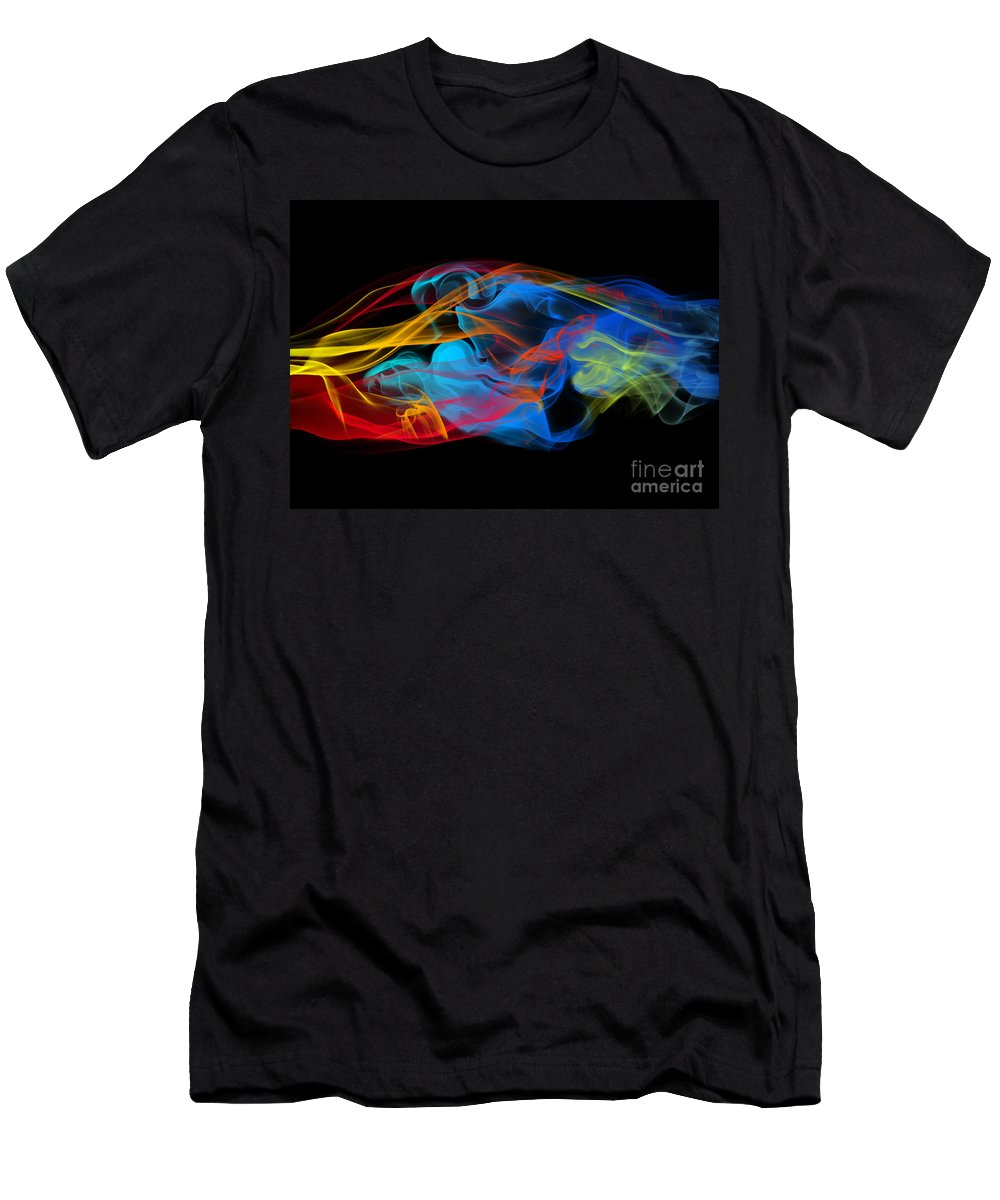 Abstract Men's T-Shirt (Athletic Fit) featuring the photograph Fire And Ice Smoke by Jt PhotoDesign