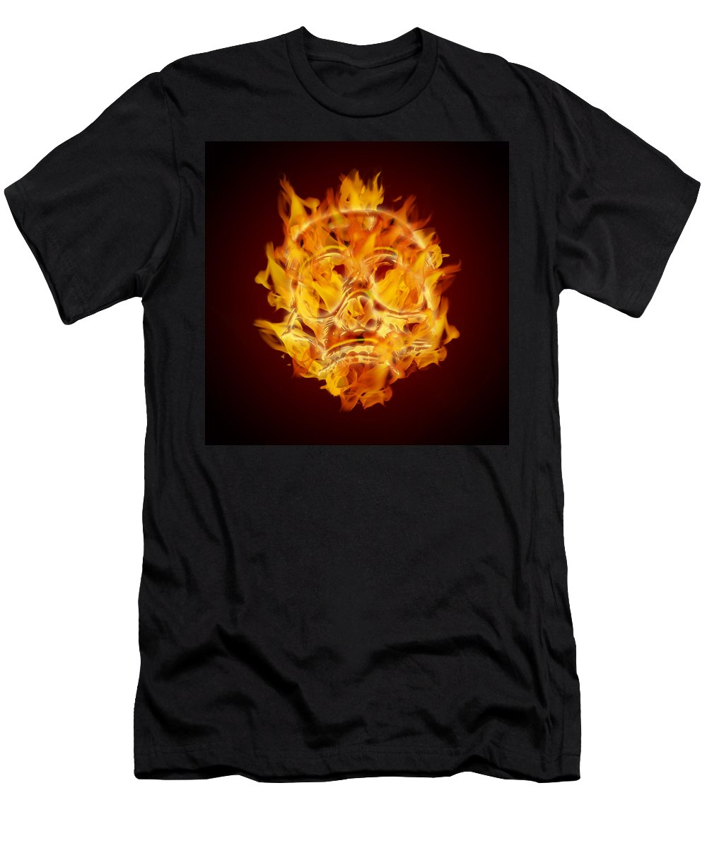 Skull Men's T-Shirt (Athletic Fit) featuring the digital art Fire Burning Flaming Skull by Jit Lim