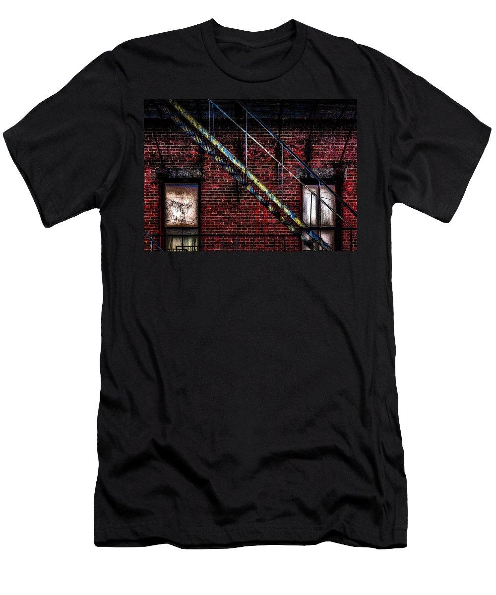 Bob Orsillo Men's T-Shirt (Athletic Fit) featuring the photograph Fire Escape And Windows by Bob Orsillo