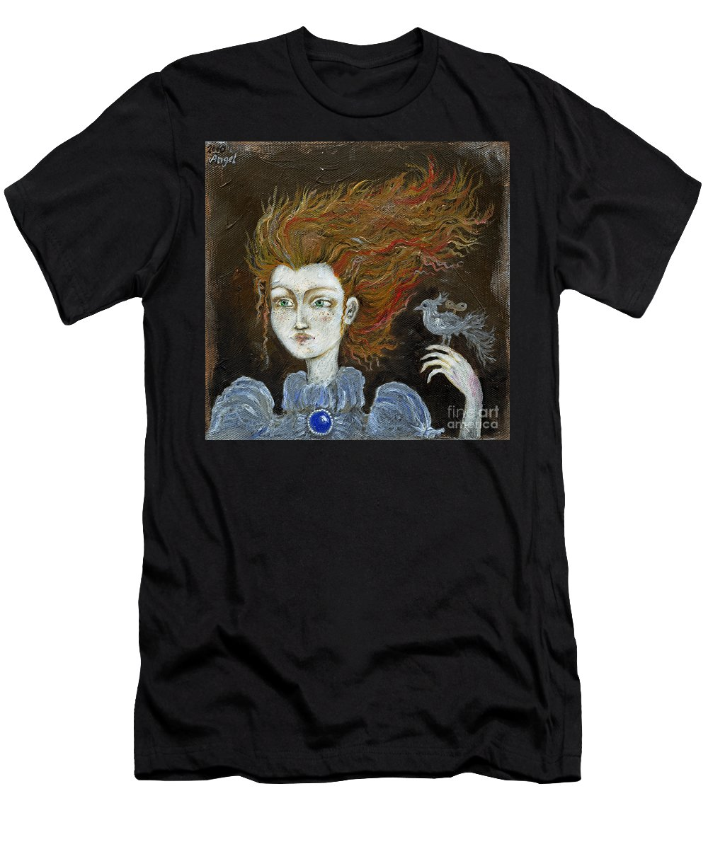 Portrait Men's T-Shirt (Athletic Fit) featuring the painting Fire Haired Girl by Angel Ciesniarska