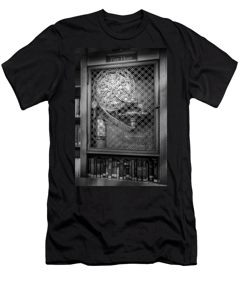 B&w Men's T-Shirt (Athletic Fit) featuring the photograph Fire Hose Bw by Susan Candelario
